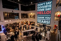 A giant illuminated sign in the H&M department store on Fifth Avenue in Midtown Manhattan in New York thanks customers for patronizing the branch over...