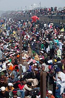Bangladeshi Muslim devotees attend the Akheri Munajat concluding prayers on the third day of Biswa Ijtema, the second largest Muslim congregation afte...