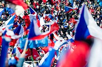Czech fans wave the flag of Czech Republic at Biathlon World Cup event in Nove Mesto na Morave, Czech Republic, Saturday, February 7, 2015. (CTK Photo...