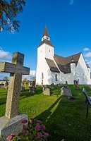 Sorunda Sweden beautiful white church and cemetery in small picturesque town south of Stockholm.