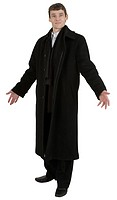 Man in black coat on the white background