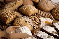 Still-life assortment of baked bread.