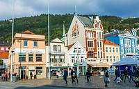 Bergen Norway Bryggen old town old buildings and colorful architecture area for tourists in BRYGGEN scenic color.
