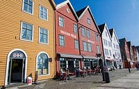 Bergen Norway Bryggen old town with famous wooden leaning houses landmarks for tourists in BRYGGEN area scenic color.