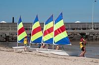Sailing lesson at Brighton Beach on Port Phillip Bay, Melbourne, Australia.