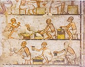 "UNESCO World Heritage, Thebes in Egypt, Valley of the Nobles, tomb of Neferronpet. Detail of the """"treasury of Amun"""" scene, craftsmen make golden pla..."