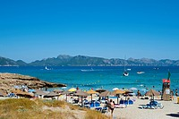 People Enjoying The Summer In Cala Sant Pere, Alcudia, Mallorca, Balearic Islands, Spain