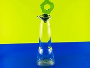 glass bottle on a colorful background