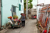 Flower Seller, Can Tho, Mekong Delta, Vietnam.