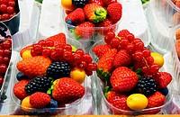 Mixed fresh berries ready to eat at the market of Barcelona, Catalonia, Spain.