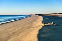 Remenants of a sand castle at Nauset Beach, Cape Cod, Massachusetts, USA.