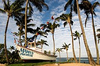 Mama's Fish House Restaurant. Ho'okipa Beach Park. Maui. Famous Mamas Fish House with palms and beach in Maui Hawaii. Definitely the best restaurant i...