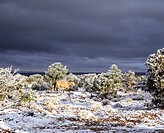 View of dark clouds and landscape snow