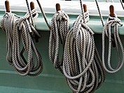Ropes on an old sailing ship wrapped around belaying pins.