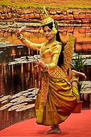 Mermaid Sovann Macha during the traditional Cambodian dance of the golden mermaid, Cambodia