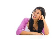 Asian girl having a thought over white background
