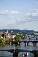 The city skyline with the bridges across the Vtlava River
