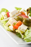 detail of a greek salad