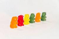 gummy bears in a row (limited depth of field)