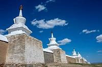 View of wall with stupas surrounding the Erdene Zuu monastery in Kharakhorum, Mongolia, MongoliaÂ's largest monastery, (UNESCO World Heritage Site).
