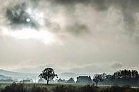 Beautiful foggy environment at Burguete village, Navarre, Spain.