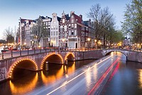 Leidsegracht at night, Amsterdam, Holland.