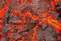 Glowing Lava flowing, Holuhraun Fissure Eruption, Bardarbunga Volcano, Iceland. August 29, 2014 a fissure eruption started in Holuhraun at the norther...