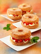 Cronuts with strawberries and mascarpone.