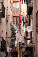 balconies and drying laundry barrio gotico barcelona