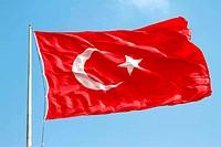 Wavin Turkish flag