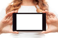 Woman hold tablet PC on white