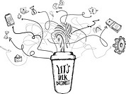 Networking concept doodles with coffee cup