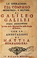 Title page of Operations of the geometric and military compass by Galileo Galilei (1564-1642), with notes by Mattia Bernaggieri, published in Milan, 1...
