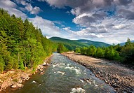 Beautiful summer landscape in the mountains with river