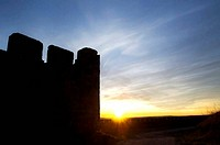 sunset in battlements of castle