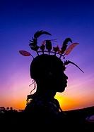 Silhouette Of Rendille Warrior Wearing Traditional Headwear, Turkana Lake, Loiyangalani, Kenya.