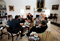 Robert Muldoon Prime Minister of New Zealand meets President Ronald Reagan at the white house 1981