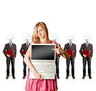 woman and lamp head businesspeople with laptop