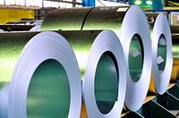 rolls of steel sheet.