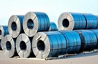 rolls of steel sheet in harbor.