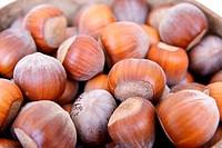 Hazelnuts background.