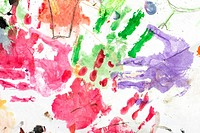 watercolor hand print on white paper