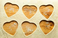Pastry hearts baking background