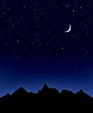 Mountain Moon and Stars
