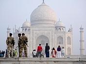 Soldiers on duty at Taj Mahal, Agra, Uttar Pradesh, India.