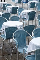 Cafe Tables and Chairs; San Marcos - St Marks Square; Venice; Italy.