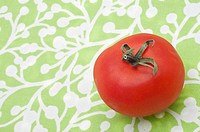 Modern Tomato on Green Pattern Background with Copy Space