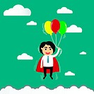 cartoon businessman flying in freedom concept with colorful ball