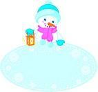 Christmas frame and snowman