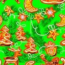 seamless christmas pattern - xmas gingerbread on green backgroun